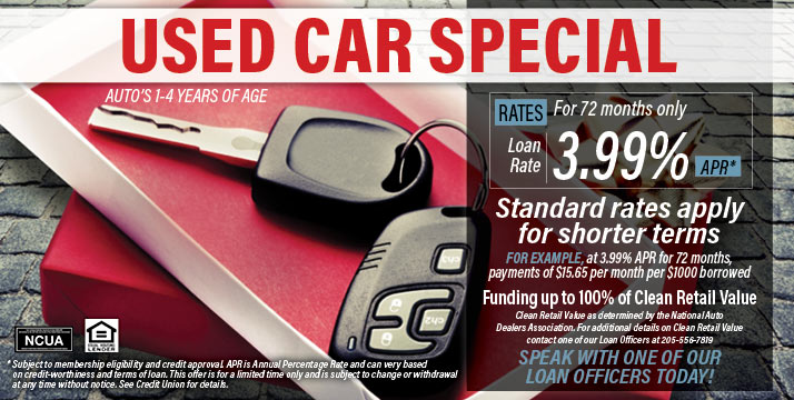 Used car special - cars 1-4 years of age as low as 3.99% APR