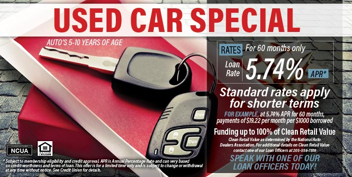 Used car special - for cars 5-10 years of age, as low as 5.74% APR