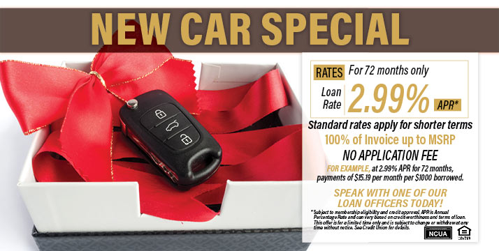 New car loan special - as low as 2.99% APR